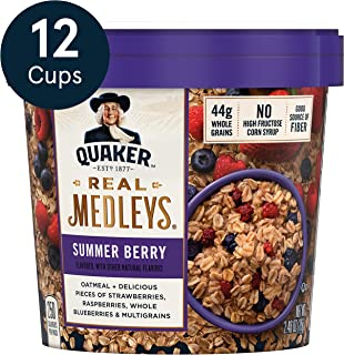 Quaker Real Medleys Oatmeal+, Summer Berry, Oatmeal Cups, 12 Count