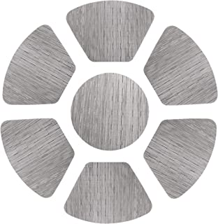 famibay Decorative Placemats Set of 7 Wedge PVC Woven Place Mats Heat Resistant Non-Slip Table Mats for Round Table Set of 7-48x33 cm/Diameter 35cm Silver Grey