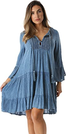 Riviera Sun Short Flowy Casual Dress with Crochet Front & Bell Sleeves