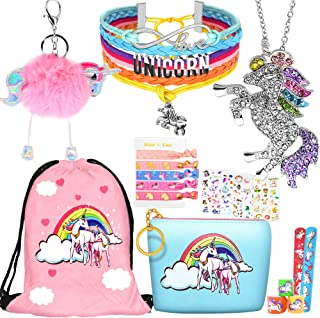 8 pcs Unicorn Gifts for Girls Teen Necklace Bracelet Jewelry Hair Ties Backpack Slap Bracelet Stickers Keychain Coin Purse...