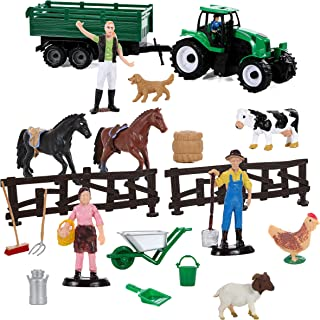 IQ Toys Play Farming 20 Piece Set with Farm Animals 2 Horses Farmers a Tractor and Accessories
