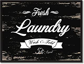Fresh Laundry Vintage Sign Canvas Print with Picture Frame Home Decor Wall Art Collection Gift Ideas, Black, 13