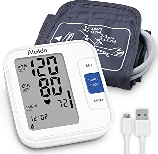 Blood Pressure Monitor Upper Arm by Alcedo| Automatic Digital BP Machine with Wide-Range Cuff for Home Use | Large Screen, 2x120 Memory, Talking Function | Case and Batteries Included