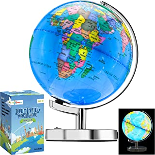 Little Chubby One 13 Inch (9 Inch Dia) Illuminated LED World Globe for Kids & Adults - STEM - Colorful Informative Easy to...