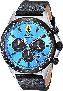 Men's Pilota Stainless Steel Quartz Watch with Leather Calfskin Strap, Black, 22 (Model: 0830388)