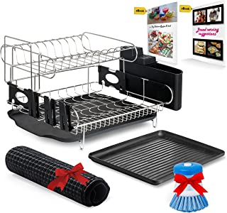 Customizable Two-Tier Dish Rack - Stainless Steel Professional Drainer for Counter or Over the Sink with Drain Board, Microfiber Mat, Dispensing Dish Brush - Includes 2 FREE E-books
