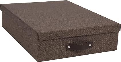 Bigso Oskar Canvas Paper Laminate Letter Storage Box, Dark Brown