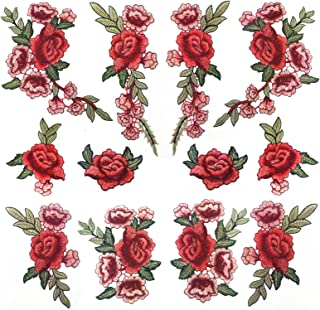 Banfeng 12pcs Rose Embroidered Lace Flower Applique Patches for Arts Crafts DIY Decor, Jeans, Jackets, Clothing, Bags