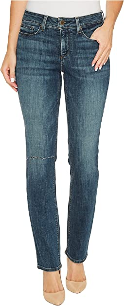 NYDJ - Parker Slim Jeans w/ Knee Slit in Crosshatch Denim in Desert Gold