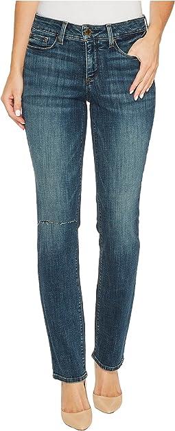 Parker Slim Jeans w/ Knee Slit in Crosshatch Denim in Desert Gold