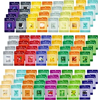 Pack of 100, The Elixir Beauty Korean Cosmetics Beauty Collagen Essence Full Facial Mask Sheets Variety Pack Natural Essence Mask Pack Featuring 25 Different Hydrating Full Face Masks