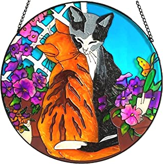 CAT in HEART Suncatcher with PURPLE Crystal 3545 Paw Print Bead on Wire Sun Catcher Kitty