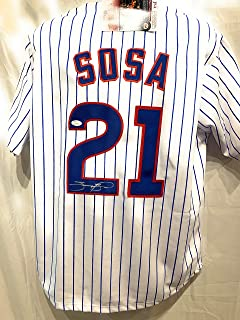 Sammy Sosa Chicago Cubs Signed Autograph MLB Custom Pinstripe Jersey JSA Witnessed Certified