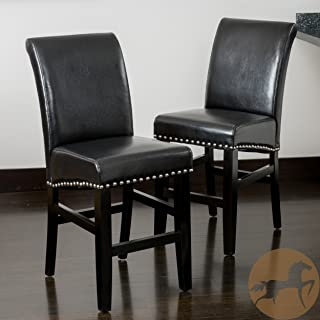 Christopher Knight Home Lisette Leather Counter Stool (Set Of 2), Black