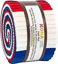 Robert Kaufman Kona Cotton 2.5'' Half Rolls 24 Piece Quilt Fabric, Patriotic