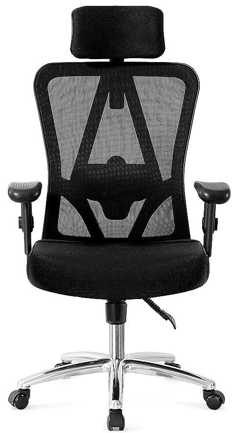 Ticova オフィスチェア デスクチェア メッシュチェア 人間工学 調節可能 ヘッドレスト付き アームレスト 腰サポー厚手 座面 120度リクライニング パソコンチェアー ブラックハイバック椅子