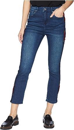 Side Trim and Grommet Skinny Jeans in Medium Denim