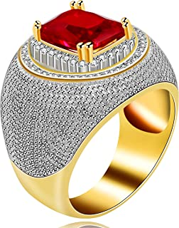Uloveido Cool Emerald Cut Micro-Inlaid Red Zircon Rings Rectangle Shape Big CZ Wedding Band Ring for Men Y587
