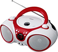 Jensen CD Boombox CD-490 White/Red Portable Stereo Boombox + CD-R/RW Player with AM/FM..