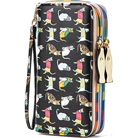Ecohaso Ladies Purse, Large Capacity Women Wallets Cute Cat Pattern, Double Zipper Long Leather Wristlet Clutch Purses with Multiple Card Slots and Removable Wrist Strap for Girls & Ladies