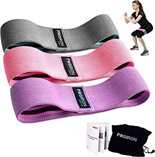 PROIRON Resistance Bands for Legs and Butt, Non Slip Booty Bands Set of 3 Wide Fabric Resistance Bands Set with Training M...