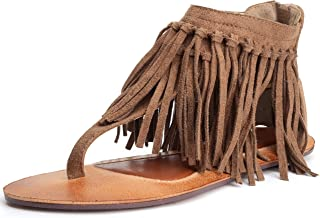 Odema Womens Flat Sandals Thong Sandals Faux Suede Tassel Zip T-Strap Sandals