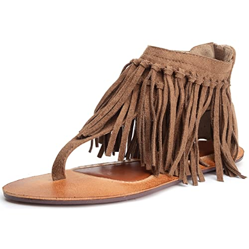 63fe180b57bf Odema Womens Flat Sandals Thong Sandals Faux Suede Tassel Zip T-Strap  Sandals