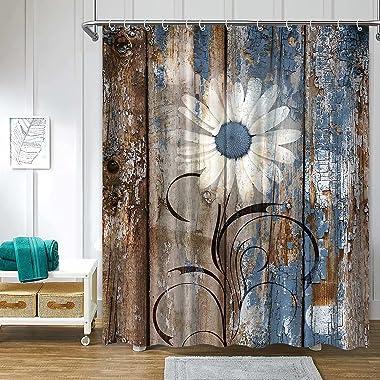 Verngo Rustic Daisy Shower Curtains, Blue Brown Floral Farmhouse Shower Curtains for Bathroom, Spring Country Botanical Bathr