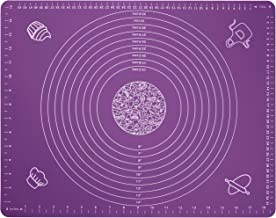 """Silicone Baking Mat for Rolling Pastry Dough with Measurements, 19.7"""" x 15.7"""" BPA Free Non Stick and Non Slip Purple Table Sheet Baking Supplies for Bake Pizza Cake"""