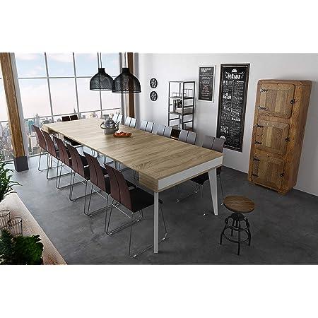 Skraut Home - Table console extensible avec rallonges, Nordic K jusqu'à 300 cm, couleur blanc mat - chêne brossé. Jusqu´à 14 pers.