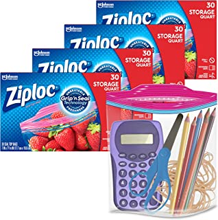 Ziploc Quart Food Storage Bags, Grip 'n Seal Technology for Easier Grip, Open, and Close, 30 Count, Pack of 4 (120 Total B...