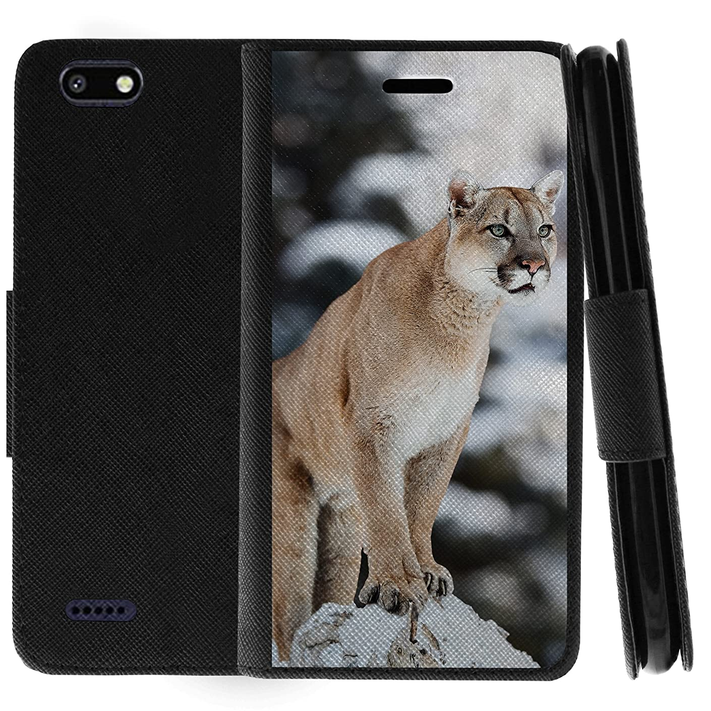 TurtleArmor | ZTE Blade Force Case | ZTE Warp 8 Case | N9517 | Flip Book Leather Wallet Case Stand Cover with Card Slots Animal Design - Mountain Cougar