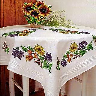 Kamaca Stickpackung Tischdecke Sommerzeit Kreuzstich vorgezeichnet aus Baumwolle Stickset mit Stickvorlage Mitteldecke 80x80 cm
