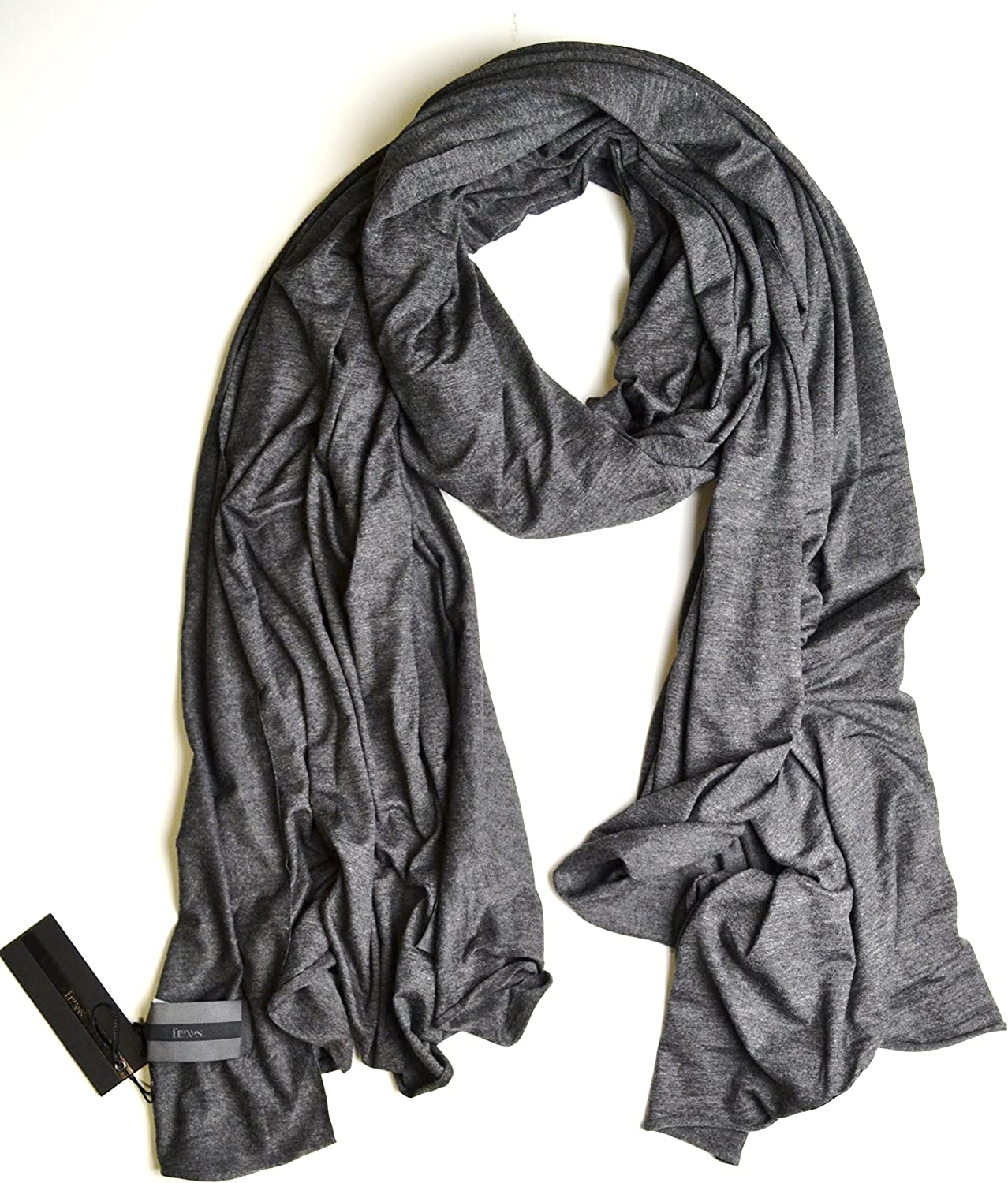 SALE $34.99 Fluxus Nomad Scarf Charcoal Grey Unisex, Oversized Cotton Wrap, Travel Wrap Made in USA