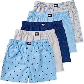 Lucky & Me Ryan Boys Boxer Shorts, 5-Pack, 100% Woven Combed Cotton, Encased Waistband, Plaid