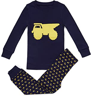 Image of Navy Blue with Big Yellow Truck Pajamas for Boys