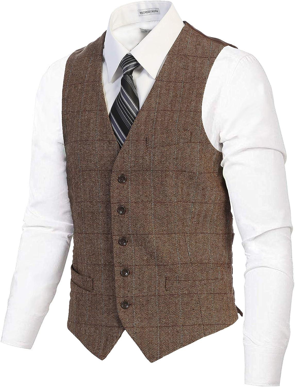 Gioberti Men's 5 Indianapolis Mall Button Slim Fit Formal Max 43% OFF Herringbone Suit Tweed V
