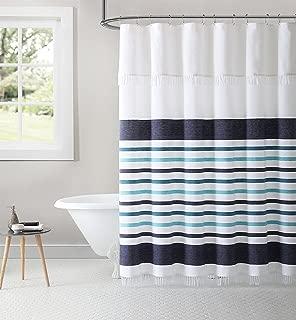 Inspired Surroundings Parker Stripe 100% Cotton Peshtemal Shower Curtain, 72
