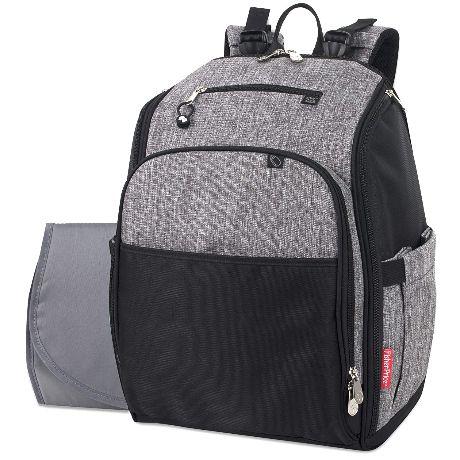 Fisher Price Diaper Bag Backpack with Changing Pad and Stroller Straps, Grey, Large