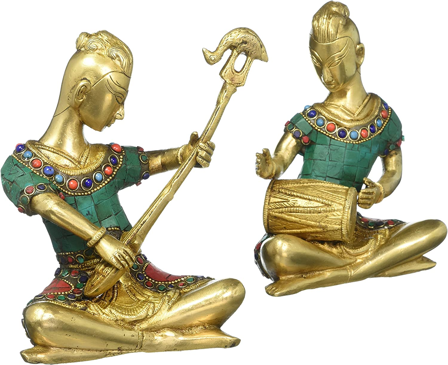 CraftVatika Musical Ladies with Inlay Work Pair of Brass Statues, 7 Inches Height
