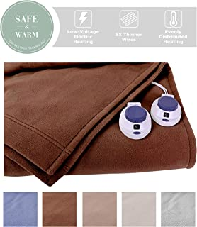 SoftHeat by Perfect Fit | Luxury Fleece Electric Heated Blanket with Safe & Warm Low-Voltage Technology (Queen, Chocolate)