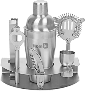 Homiu Cocktail Shaker Set Premium Deluxe Stainless Steel Bar Gift 8 Piece Consists of a 24 Ounce Shaker with Lid Tongs Strainer Double Jigger Corkscrew and Bottle Opener