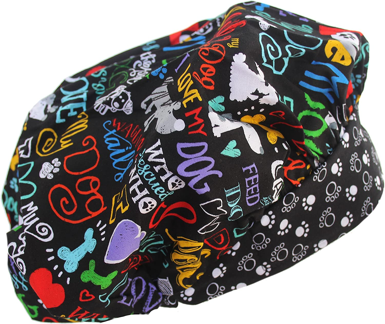 Banded Bouffant I Love My Dog 2 Black Scrub Hat free security shipping on Cap
