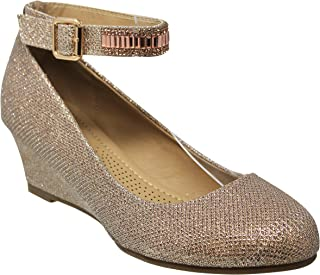 MVE Shoes Women's Sparkle Wedge-Round Toe Ankle Strap-Rhinestones Party Pumps-Shoes