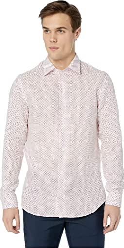 Linen Diamond Long Sleeve Cross Sport Shirt