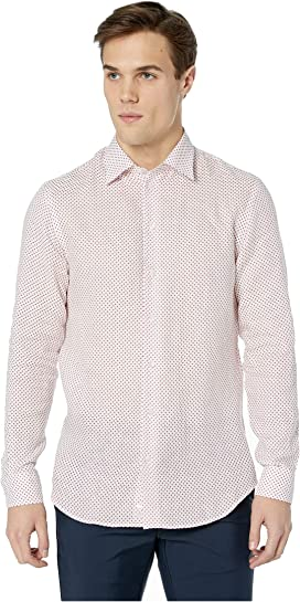 25c66dfabdb9 Perry Ellis Long-Sleeve Solid Linen Cotton Popover Shirt at Zappos.com