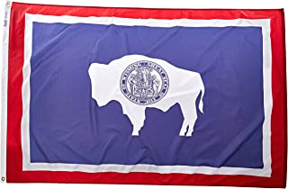Annin Flagmakers Model 146170 Wyoming State Flag 4x6 ft. Nylon SolarGuard Nyl-Glo 100% Made in USA to Official State Design Specifications.