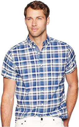 Short Sleeve Large Plaid Oxford Woven Shirt