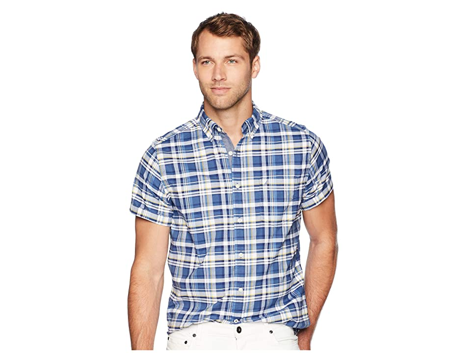 Nautica Short Sleeve Large Plaid Oxford Woven Shirt (Ensign Blue) Men