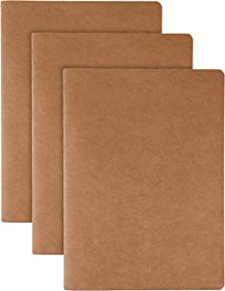 RIANCY A5 Kraft Soft Cover Blank Page Journal, Travelers Notebook Refill Journal Inserts for Leather Travel Journals, Diary and Planner, Sketchbook,3 Pack, A5 Size - 5X 8 inches (3 Pack Notebook, A5)